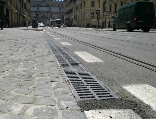 Griglia di ghisa e Sanpietrini Basalto Roma via Flaminia
